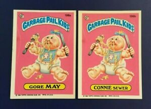 1986-Topps-198a-GORE-MAY-amp-198b-CONNIE-SEWER-Lot-2-Garbage-Pail-Kids-GPK