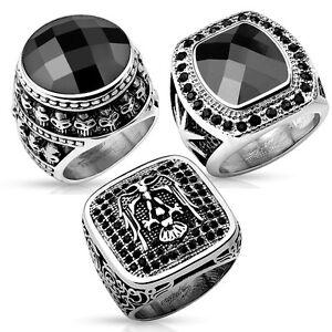 edelstahl ring totenkopf adler stern zirkonia onyx schwarz. Black Bedroom Furniture Sets. Home Design Ideas