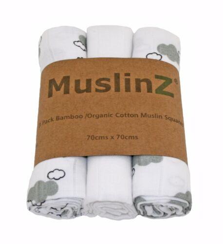 Muslinz 3pk 70cms bambou//coton organique mousseline carrés blanc//gris brume Nuages