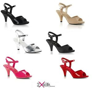 a98a18622be PLEASER BELLE 309 PINK LABEL PEEP TOE 3  034  LOW HEEL ANKLE STRAP ...