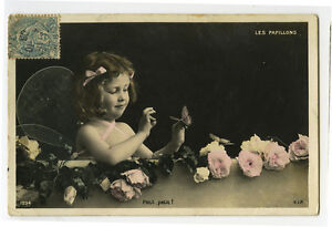 c-1906-Vintage-Cute-Children-Girl-FAIRY-w-BUTTERFLY-fairies-photo-postcard