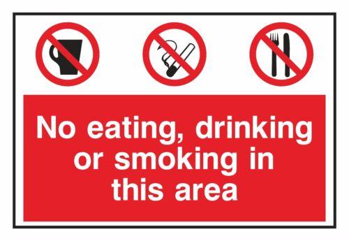 1x non mangiare bere o fumare in questa zona di Avvertimento Adesivo per porta di casa Park