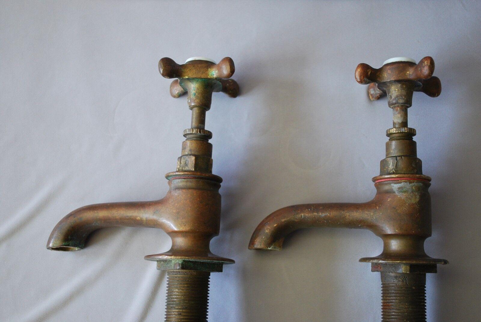 Grifos de baño baño baño de latón antiguo Original pátina oscura largo 3.5 llegar a reciclar reacondionados 6581f2