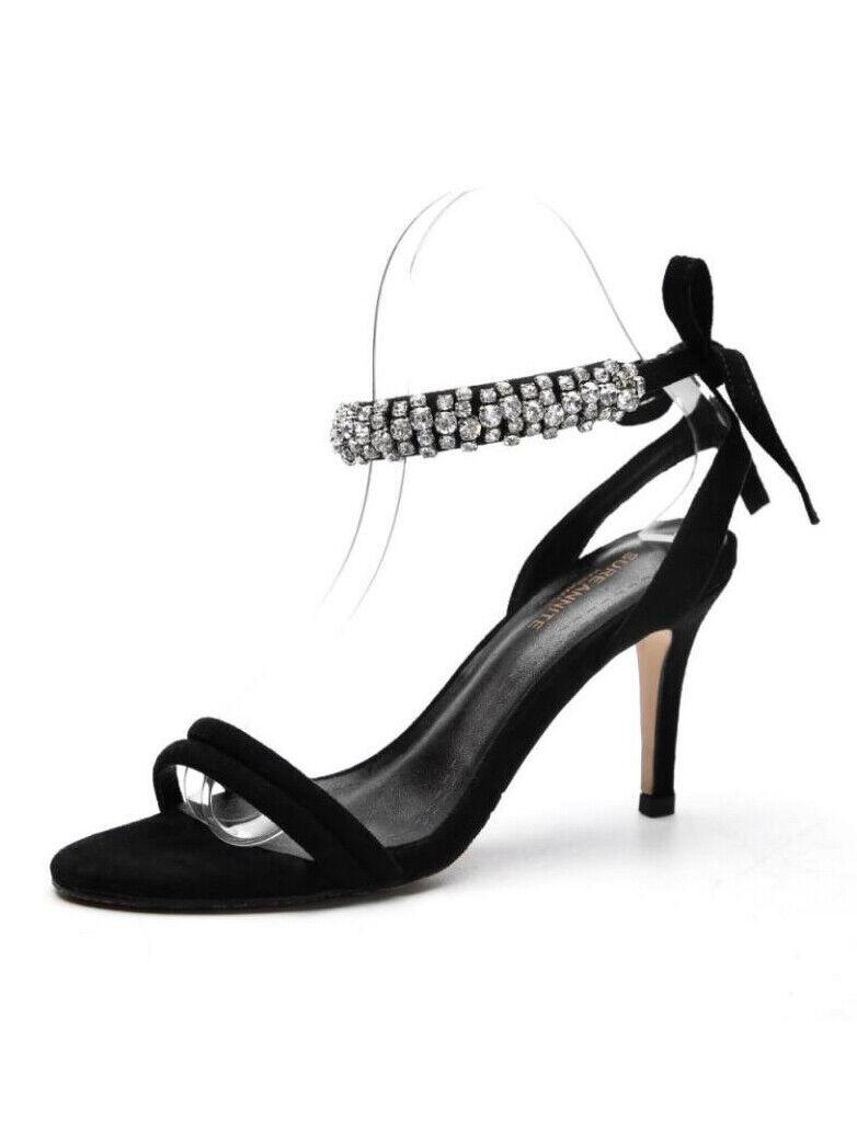 Sandali  negro strass pelle sintetica eleganti stiletto 7 cm cw179