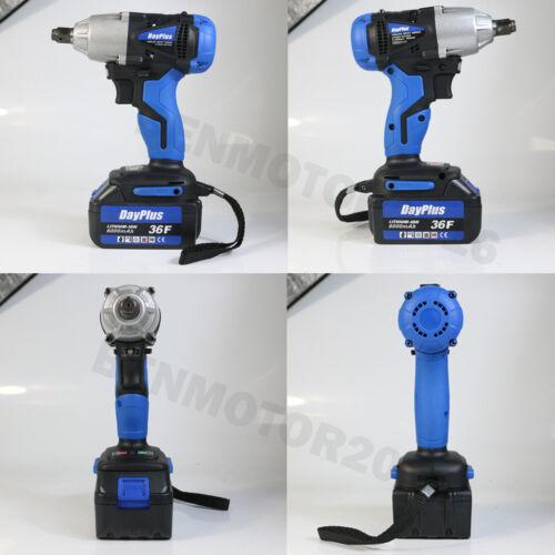 Powerful Cordless Electric Impact Wrench Gun 1//2/'/' Driver 2PCS Battery Sockets