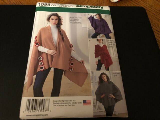 adbef2d4b Simplicity 1098 Sewing Pattern Misses Fleece Ponchos Wraps Uncut for ...