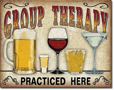 Group Therapy Practiced Here TIN SIGN Alcohol beer wine home bar wall decor 2041