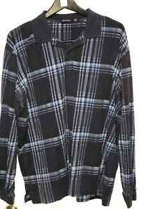 Mens-Nautica-Xxl-Vtg-Long-Sleeve-Checked-Blue-Shirt