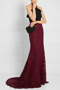 2aafee99d27 NEW Oscar de la Renta Fishtail Maxi Skirt Bordeaux Corded Rose Lace ...