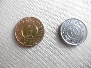 (a125)-guyane-lot 2 Pieces-5 Et 10 Cents-1991