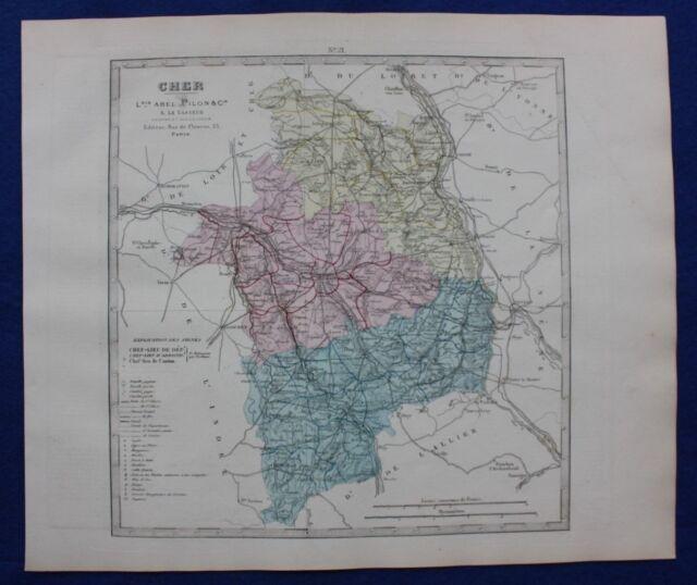 Sancerre France Map.1841 Antique Map Monin France H Col Departments Cher Bourges