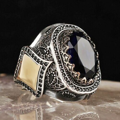 Turkish Jewelry 925 Sterling Silver Onyx HEAVY Stone Mens Ring Usa All Size