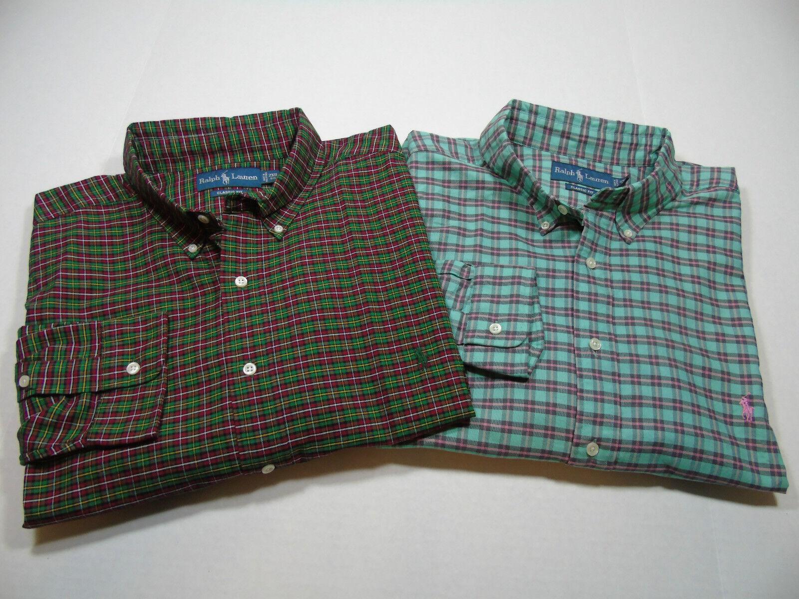 New Polo RALPH LAUREN Cotton Plaid Oxford Sport Shirt size 2XB, 3XB