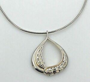 VINTAGE-925-Sterling-Silver-2-Tone-Decorative-Wreath-Pendant-Necklace-18-034
