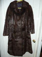 "Ladies soft real Nutria fur brown coat 42"" bust size 14 length 45"" vgc"