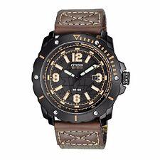 Citizen Eco-Drive Men's BM7279-03E Black Dial Brown Leather Strap 46mm Watch
