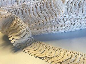 White 3.5cm Trim Tassel Fringe Cotton Lace Ribbon Price per 30cm DIY Craft