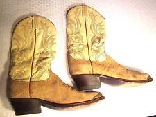 "Dan Post Womans Western Boots Suede Leather Sz 8D 14""H 1 3/4 Heel Brass Tips"