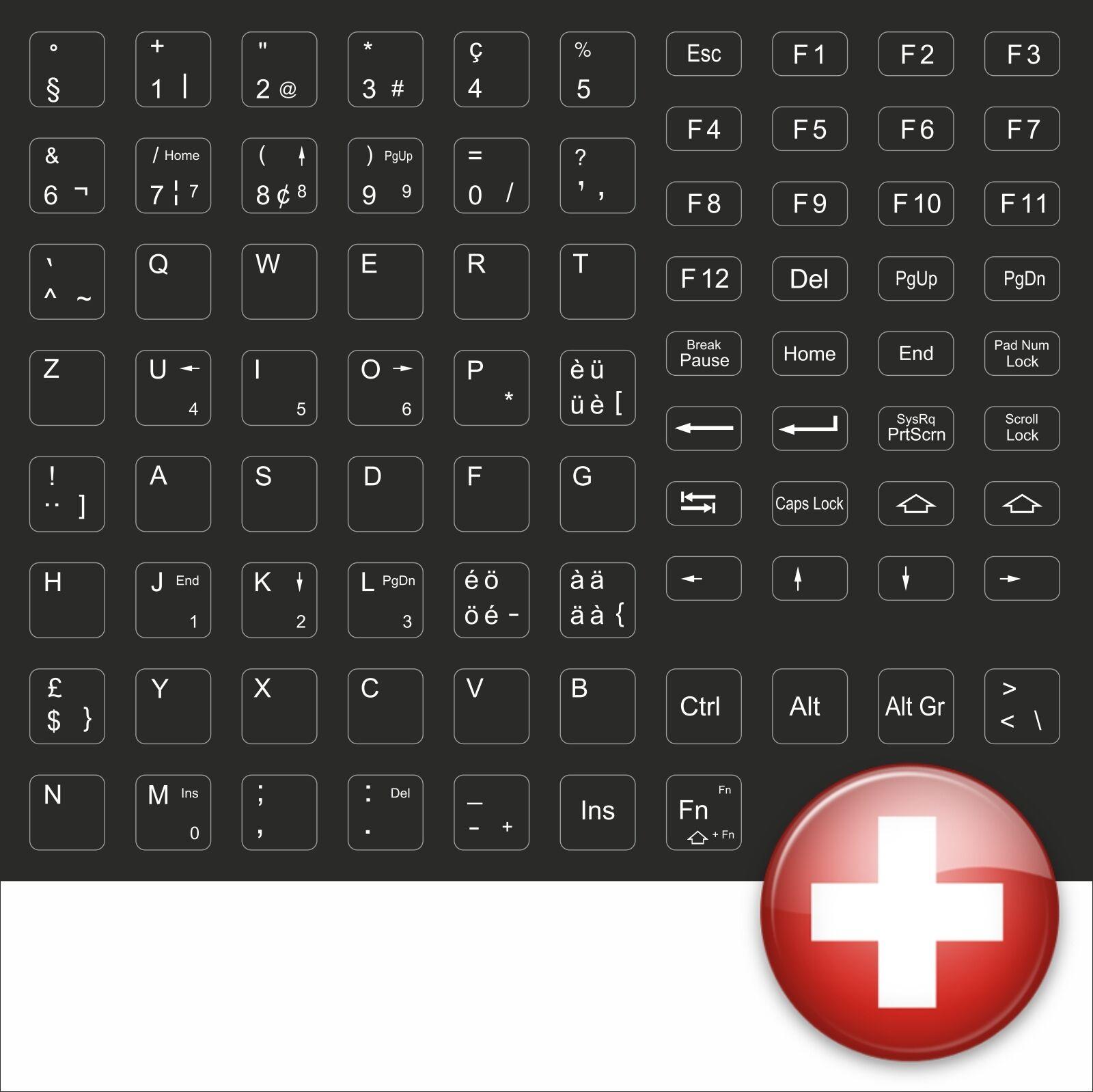 Keyboard Stickers Keystickers Swiss Helvetia Black Helvetia Switzerland MM