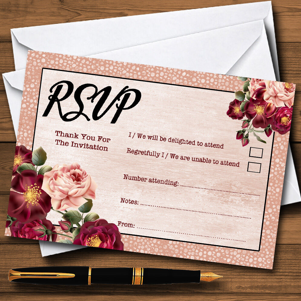 Coral blush & deep Rouge  aquarelle aquarelle  rose personnalisé rsvp cartes 1e1691
