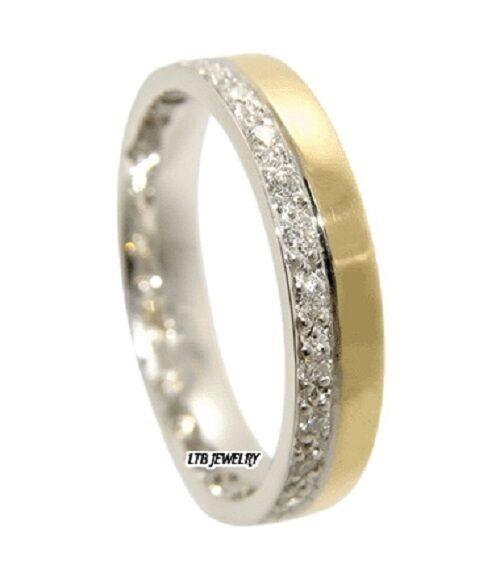 Da Uomo Uomo Uomo 10K Bicolore oro Fede Nuziale con Diamante 4MM f9dccd