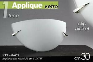 Plafoniera lampada bianca applique in vetro mezzaluna 1 luce