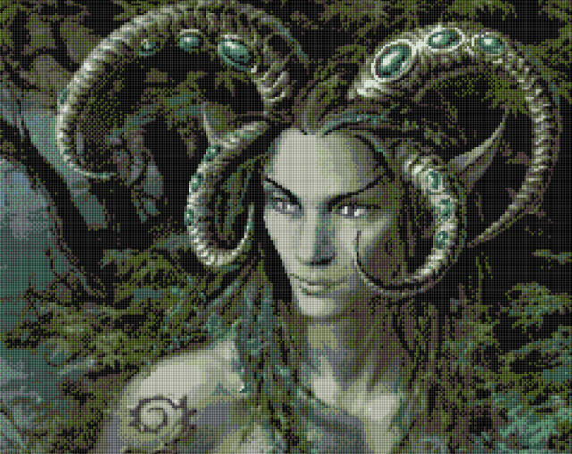 "Faun King Full Counted Cross Stitch Kit 13"" x 11"" Goth Fantasy 18ct"