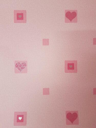 Kids Amour Rose Coeurs papier peint argent métallisé des tourbillons de Jeune Fille Chambre Nursery