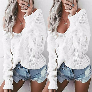 Autumn-Womens-Sexy-V-neck-Oversized-Baggy-Jumpers-Knitted-Warm-Chunky-Sweater