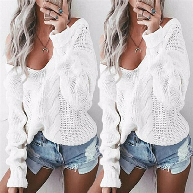 Autumn Womens Sexy V neck Oversized Baggy Jumpers Knitted Warm Chunky Sweaters -