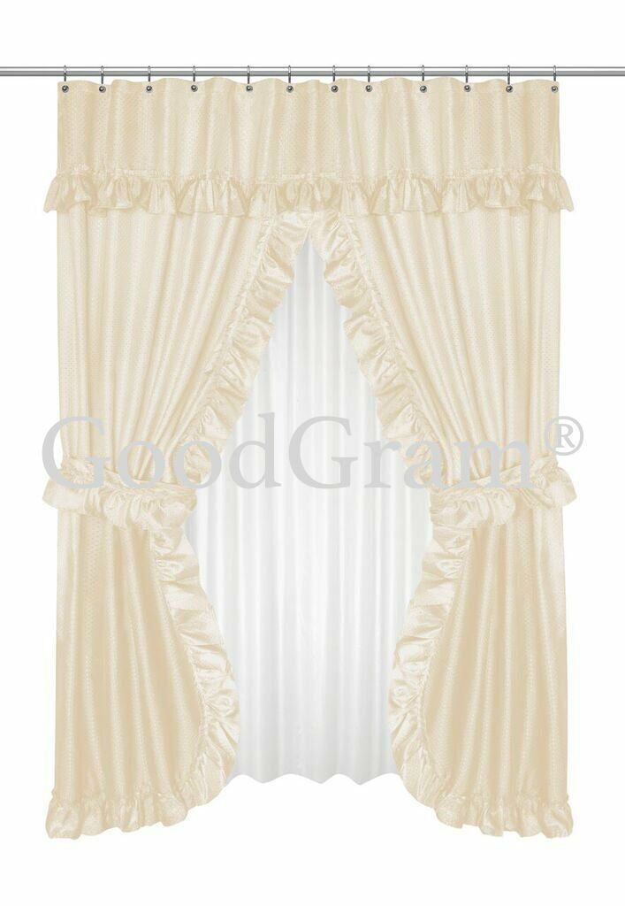 Ivory Carnation Home Fashions FSCD-L//08 Lauren Double Swag Shower Curtain