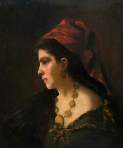 Portrait-of-a-Young-Lady-Antique-Oil-Painting-19th-Century-Italian-School