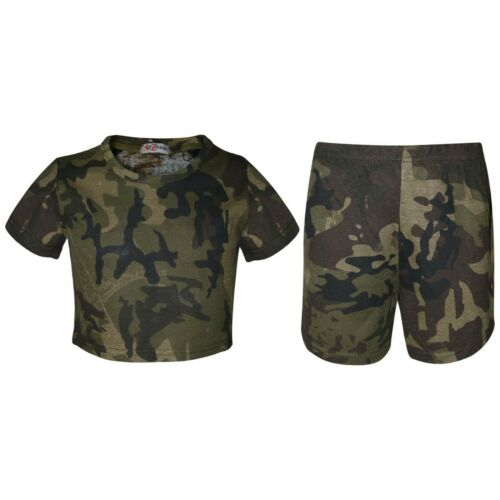 Kids Girls Crop Top /& Shorts Camouflage Green Fashion Summer Outfit Sets 5-13 Yr