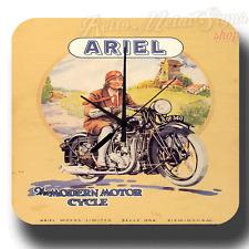 Reloj De Pared Ariel moto viejo Garaje Vintage Retro Metal Tin Señal