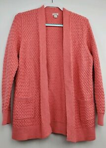 LL-Bean-Cable-Knit-Cotton-Sweater-Open-Cardigan-Size-XL-Extra-Large-Salmon-Pink