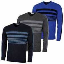 Calvin Klein Mens V-Neck Performance Soft Chest Stripe Sweater 45% OFF RRP