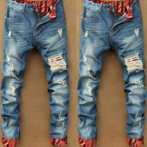 Fashion-Men-039-s-Ripped-Skinny-Biker-Jeans-Destroyed-Frayed-Slim-Fit-Denim-Pants