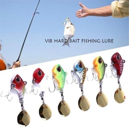 6Pcs Rotate Spoon Metal Fishing Bait Treble Hook Wobblers Crankbaits VIB