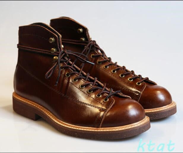 100% Cuero Genuino para Hombre De Combate botas al Tobillo Zapatos Trabajo Motorista Militar Senderismo Talla