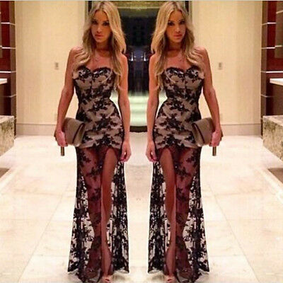 Women Long Lace Strapless Prom Ball Cocktail Party Dress Formal Evening Gown