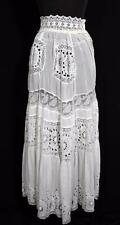"""ANTIQUE FRENCH LONG EDWARDIAN WHITE SHEER COTTON PETTICOAT WITH LACE  30"""" WAIST"""