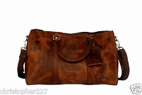 Mens Overnight Travel Carry On Weekend Shoulder Duffel Bag Brown Premium Leather