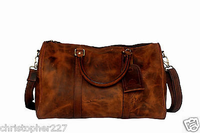 Mens Travel Carry On Overnight Weekend Shoulder Duffel Bag Brown Premium Leather