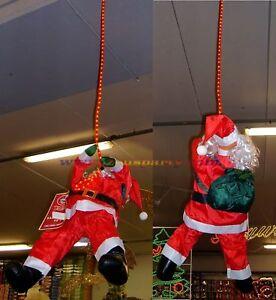Babbo Natale 90 Cm.Dettagli Su Babbo Natale 90cm Da Appendere Con Corda Luminosa 150cm