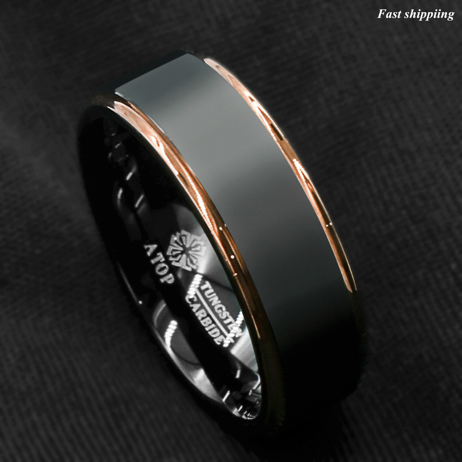 tungsten carbide ring rose gold black brushed wedding band. Black Bedroom Furniture Sets. Home Design Ideas