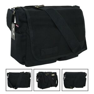 80045af0f689 Image is loading Black-Army-Military-Messenger-Heavyweight-Field-Canvas- Shoulder-
