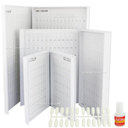 120 / 216 / 308 Color Display Card Chart Book Nail UV Gel Polish Glue Tips Set
