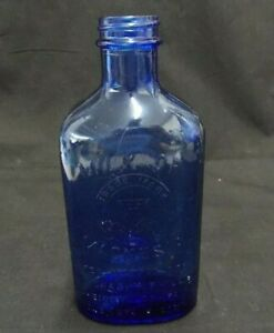 COBALT-BLUE-MILK-OF-MAGNESIA-MEDICINE-BOTTLE-K929-USA-7-034-TALL-ANTIQUE-VINTAGE