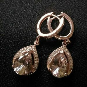 2Ct-Corte-De-Pera-champan-Melocoton-Morganita-Gota-Dangle-Earrings-14K-Rosa-Oro-Acabado