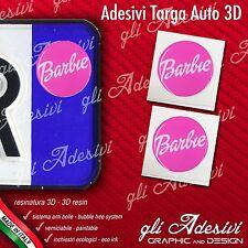 2 Adesivi Stickers bollino 3D Resinato targa Auto Moto BARBIE